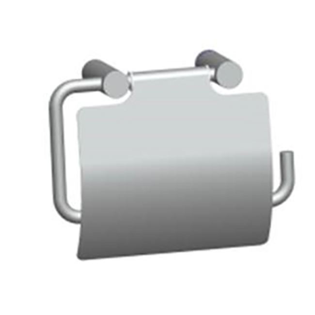 Toilet paper holder with cover, polished stainless steel