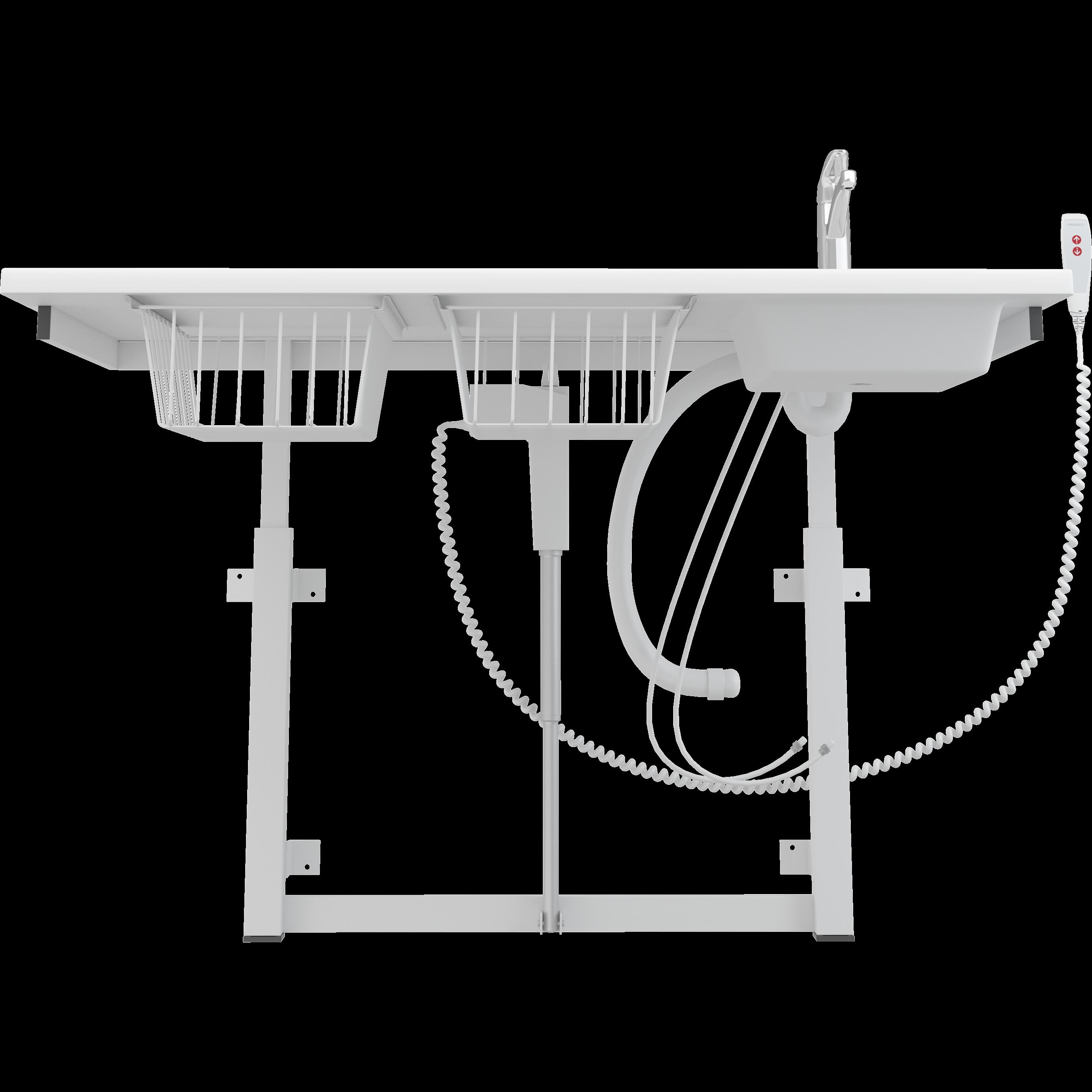 Puslebord, 800 x 1400 mm, elektrisk højderegulérbart, med sanitet og standardarmatur