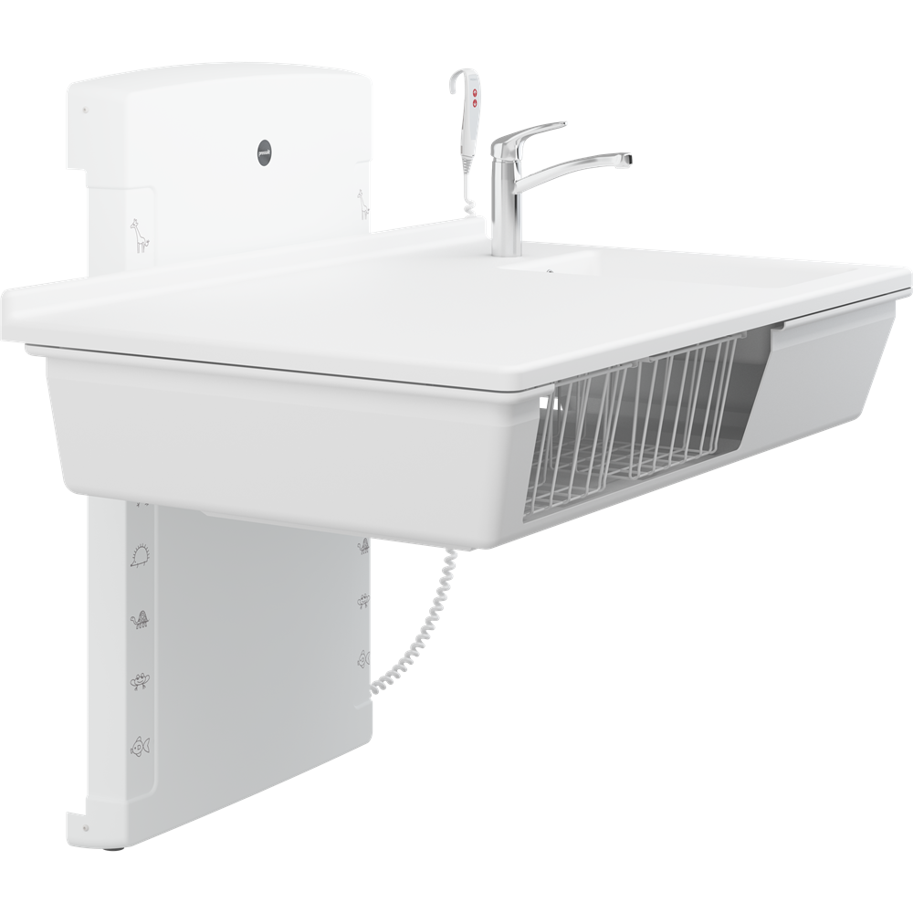 Changing table, 900 x 1400 mm, electrically height adjustable, with sanitary appliances and standard mixer tap