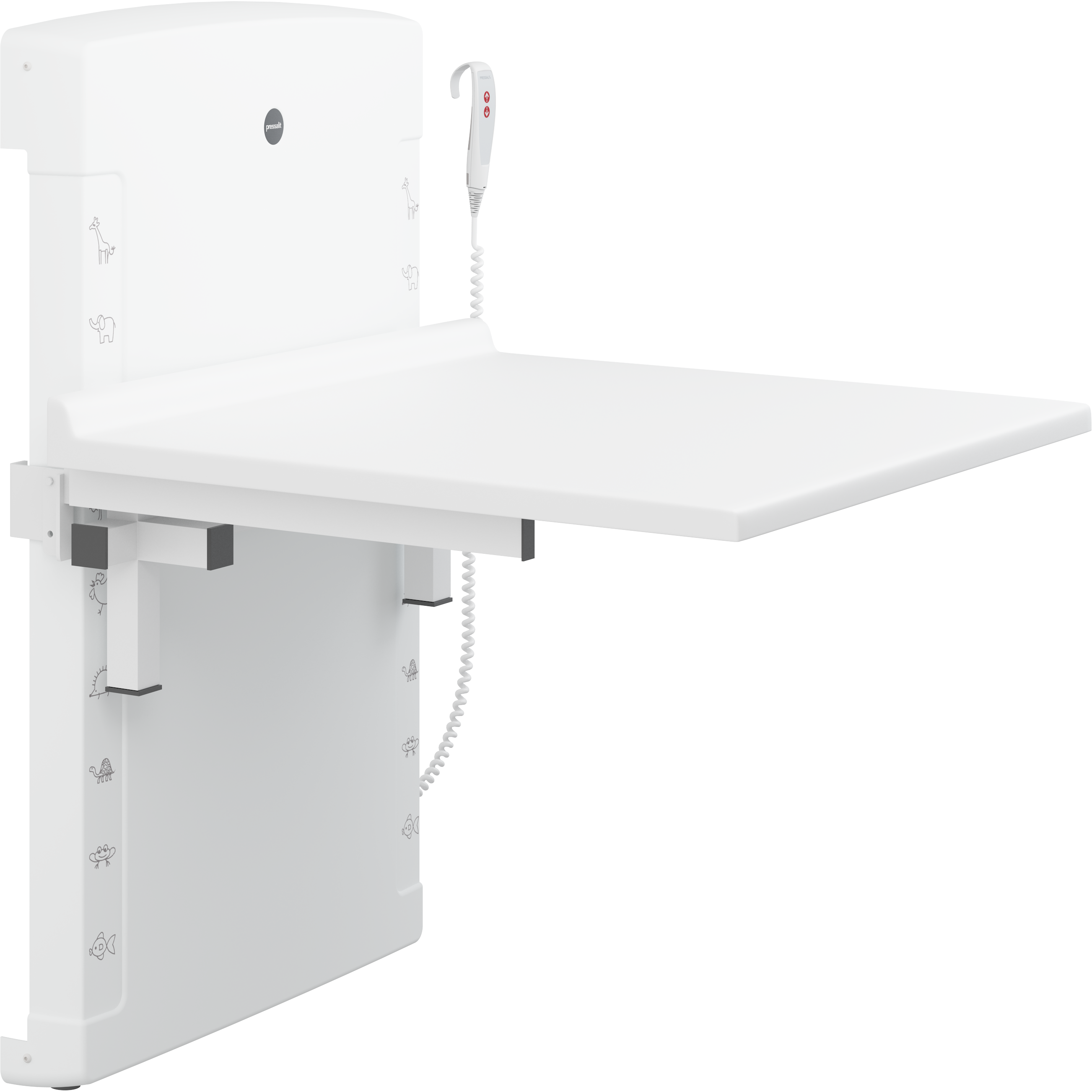 Changing table, 800 x 900 mm, electrically height adjustable, foldable