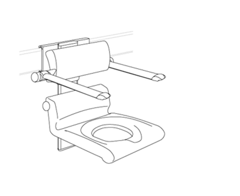 CareSystem shower chair 410 with aperture, manually height and sideways adjustable