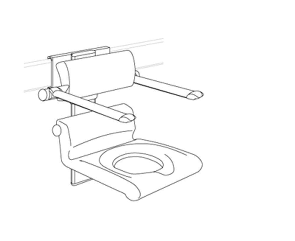 CareSystem chaise de douche 410 assise évidée, réglable en hauteur manuellement et latéralement