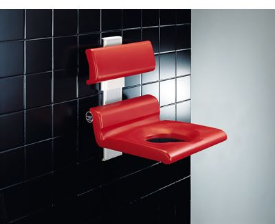 CareSystem chaise de douche 410 assise évidée, réglable en hauteur manuellement