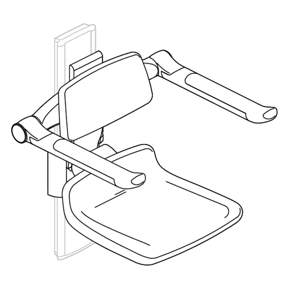 PLUS duschsits 310, 250 mm manuellt höjdreglerbar