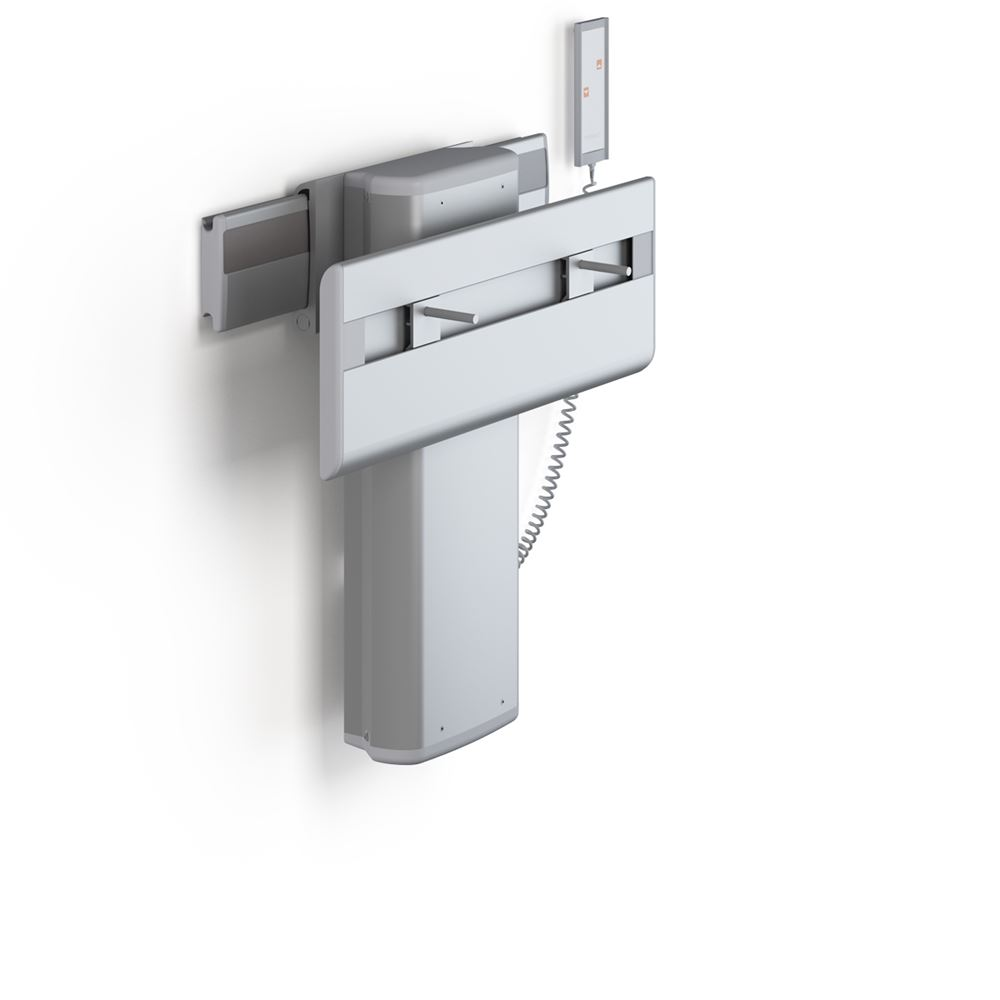 PLUS wash basin bracket with wired hand control, electrically height adjustable and sideways adjustable