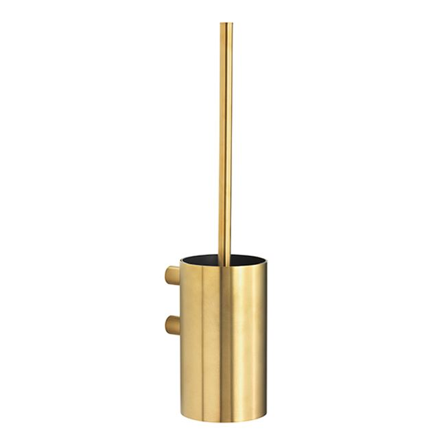Toilet brush for wall, brushed brass