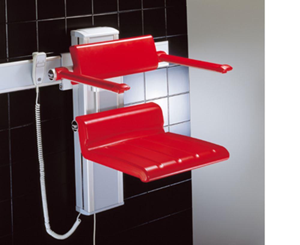CareSystem chaise de douche 410, réglable en hauteur électriquement og réglable latéralement