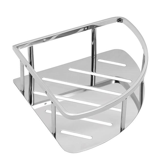 Corner shelf, polished stainless steel