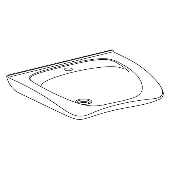 MATRIX NEW CURVE ergonomic wash basin with tap hole, without overflow