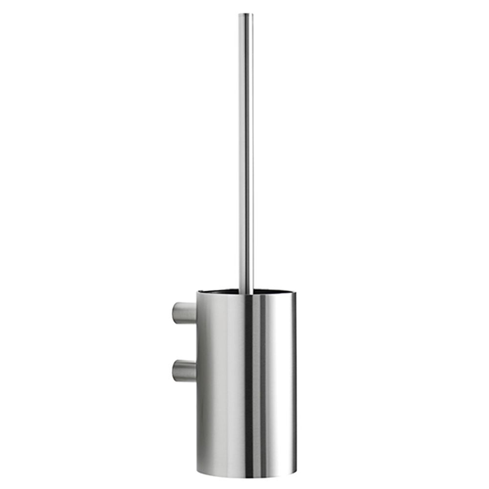 Toilet brush for wall, polished stainless steel