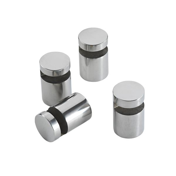 Mirror holder, 4 pcs., polished stainless steel
