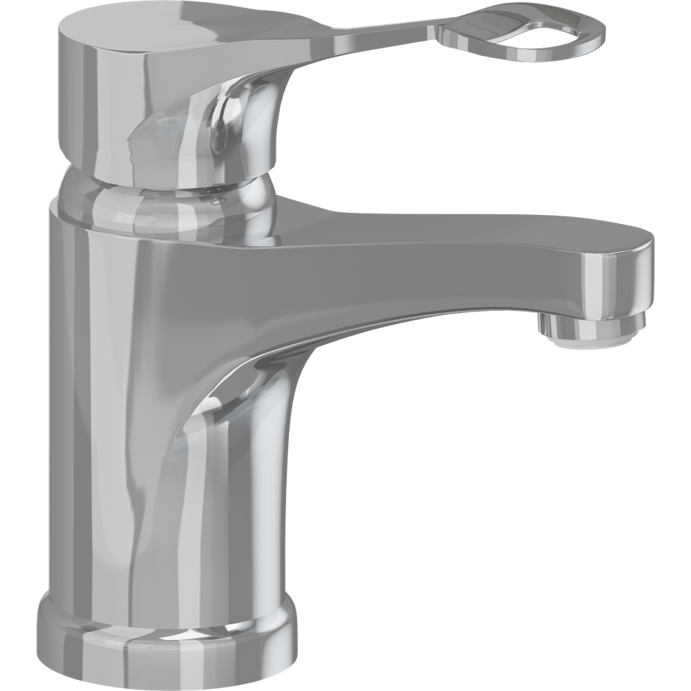Mixer tap with long rotatable spout and ring-shaped operating lever