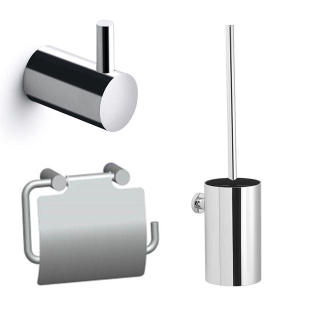 Bathroom set, polished stainless steel