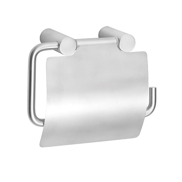 Toilet paper holder with cover, stainless steel