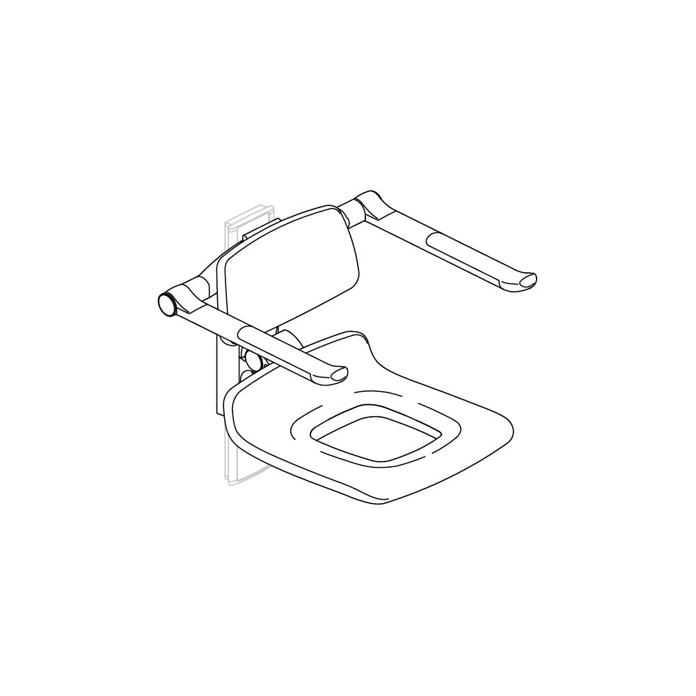 PLUS replacement shower seat 450 with aperture, manually height adjustable