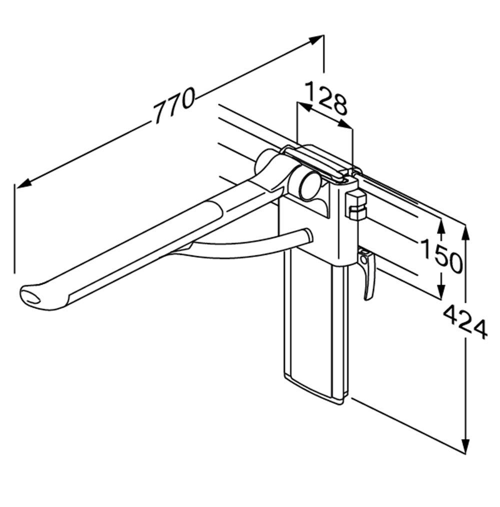 PLUS barre de relèvement avec ressort, réglable en hauteur et latéralement