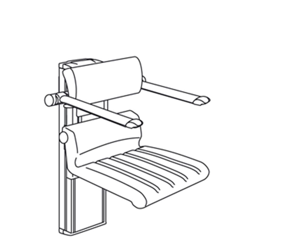 CareSystem shower chair 410, electrically height adjustable