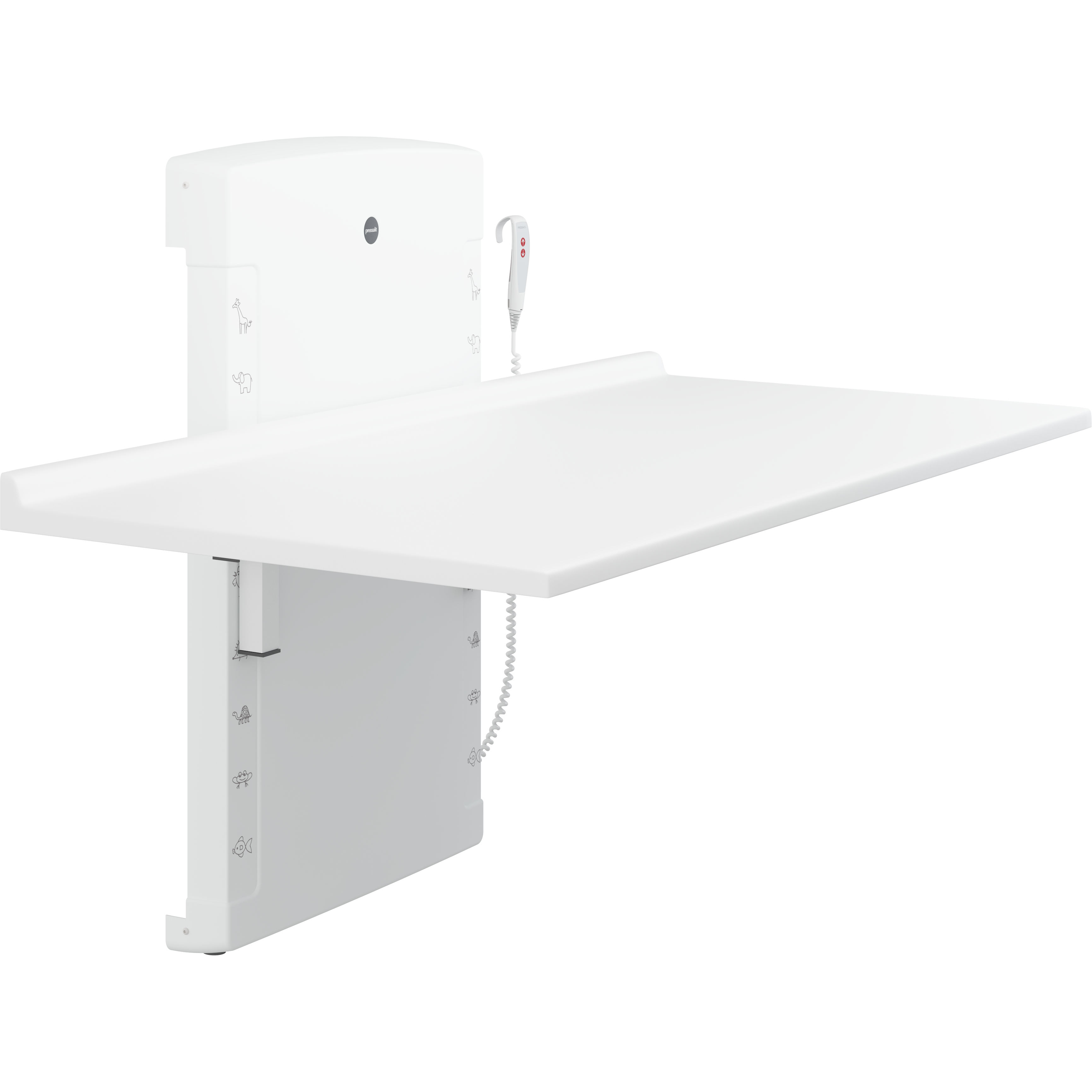 Changing table, 800 x 1800 mm, electrically height adjustable, foldable