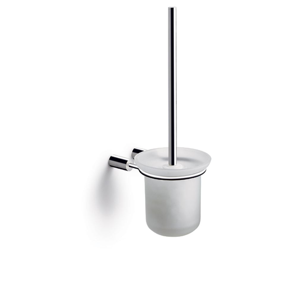 Toilet brush for wall with glass bowl, polished stainless steel