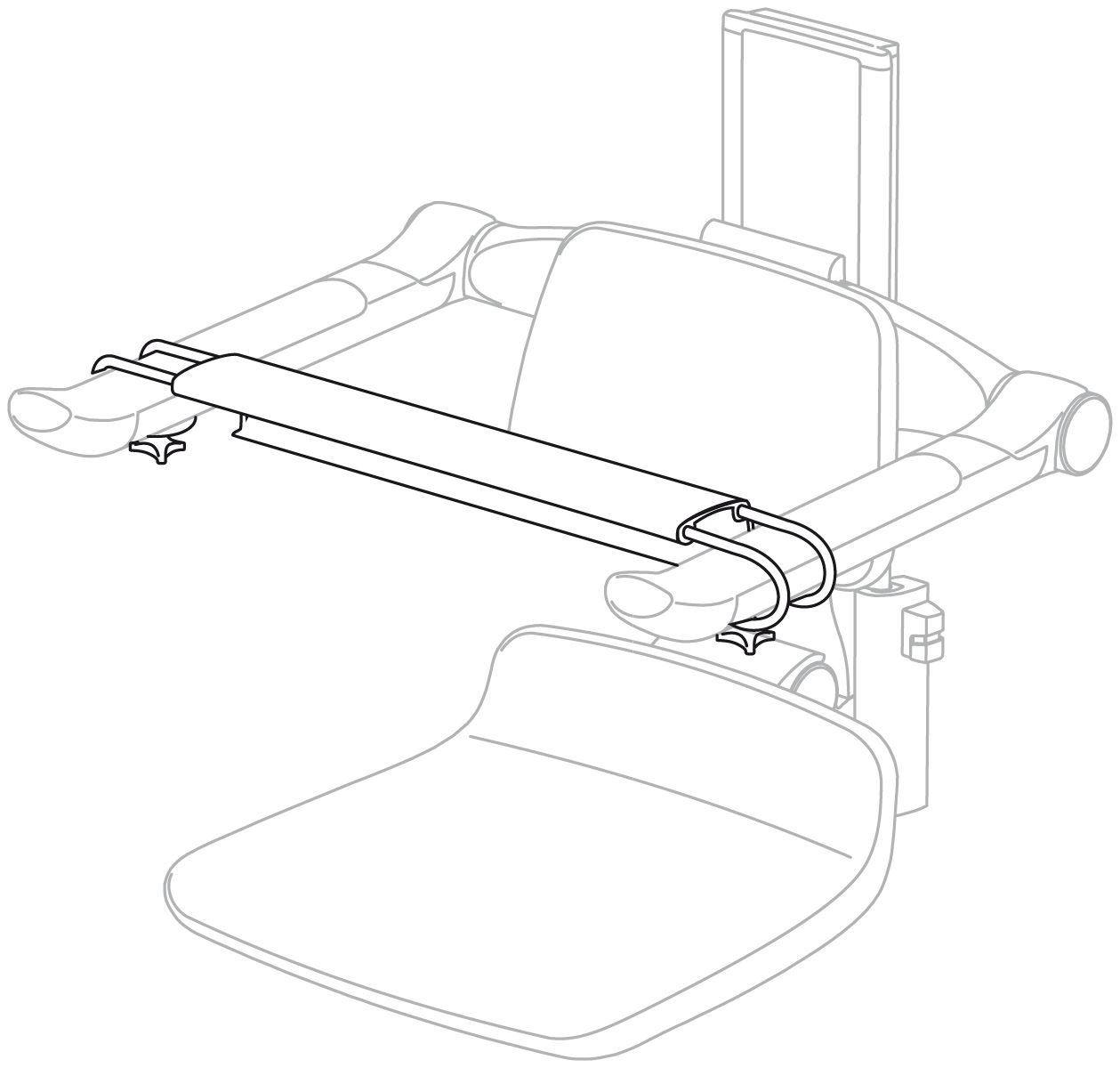Plus frontstöd till duschsits och toalettarmstöd, 450 - 520 mm