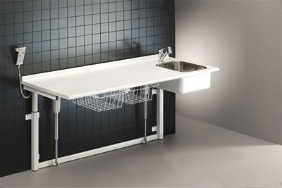 Changing table, 800 x 1800 mm, electrically height adjustable, with sanitary appliances and mixer tap with pull-out spout
