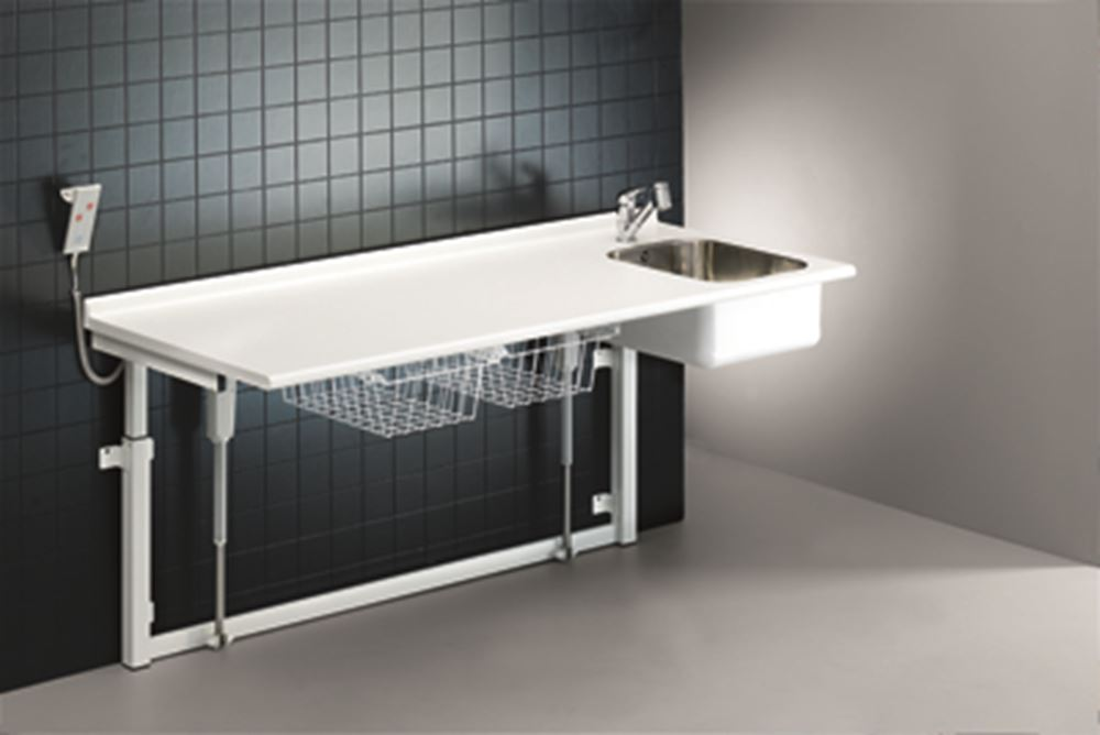 Changing table, 800 x 1800 mm, electrically height adjustable, with sanitary appliances and standard mixer tap