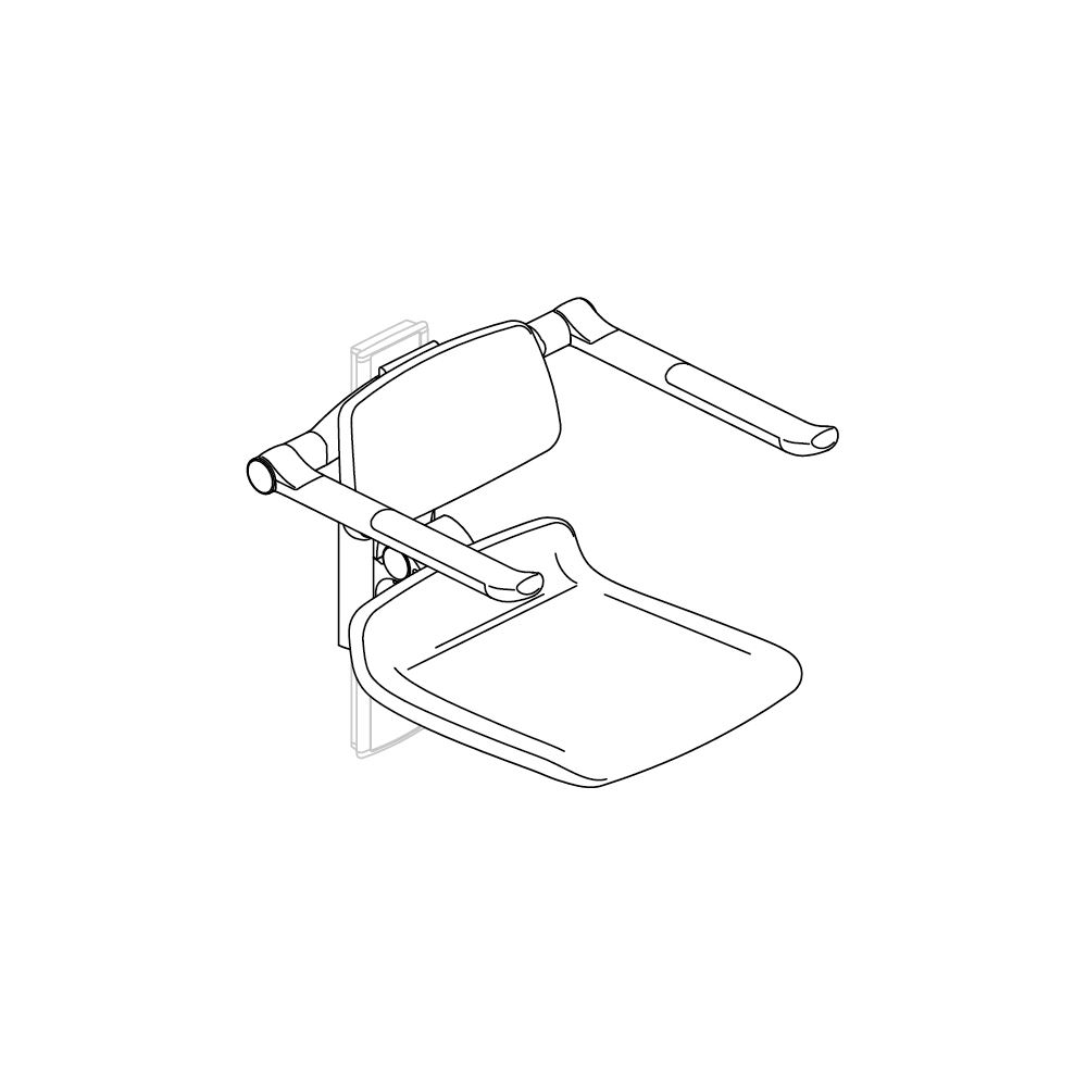PLUS replacement shower seat 450, manually height adjustable