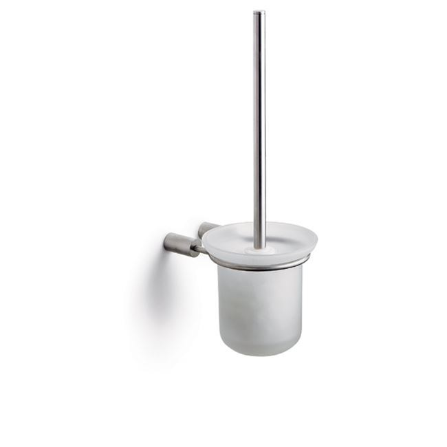 Toilet brush for wall with glass bowl, stainless steel