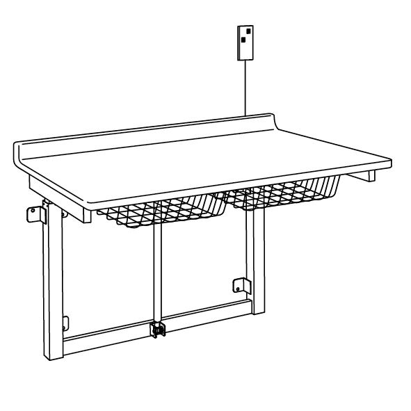 Changing table, 800 x 900 mm, electrically height adjustable