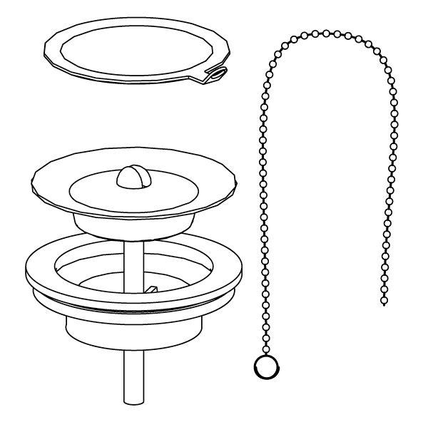 Bundventil, ring, kæde og prop