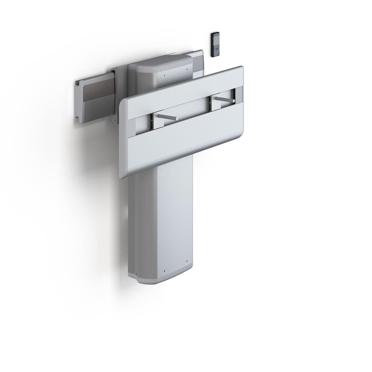 PLUS wash basin bracket with cordless remote control, electrically height adjustable and sideways adjustable