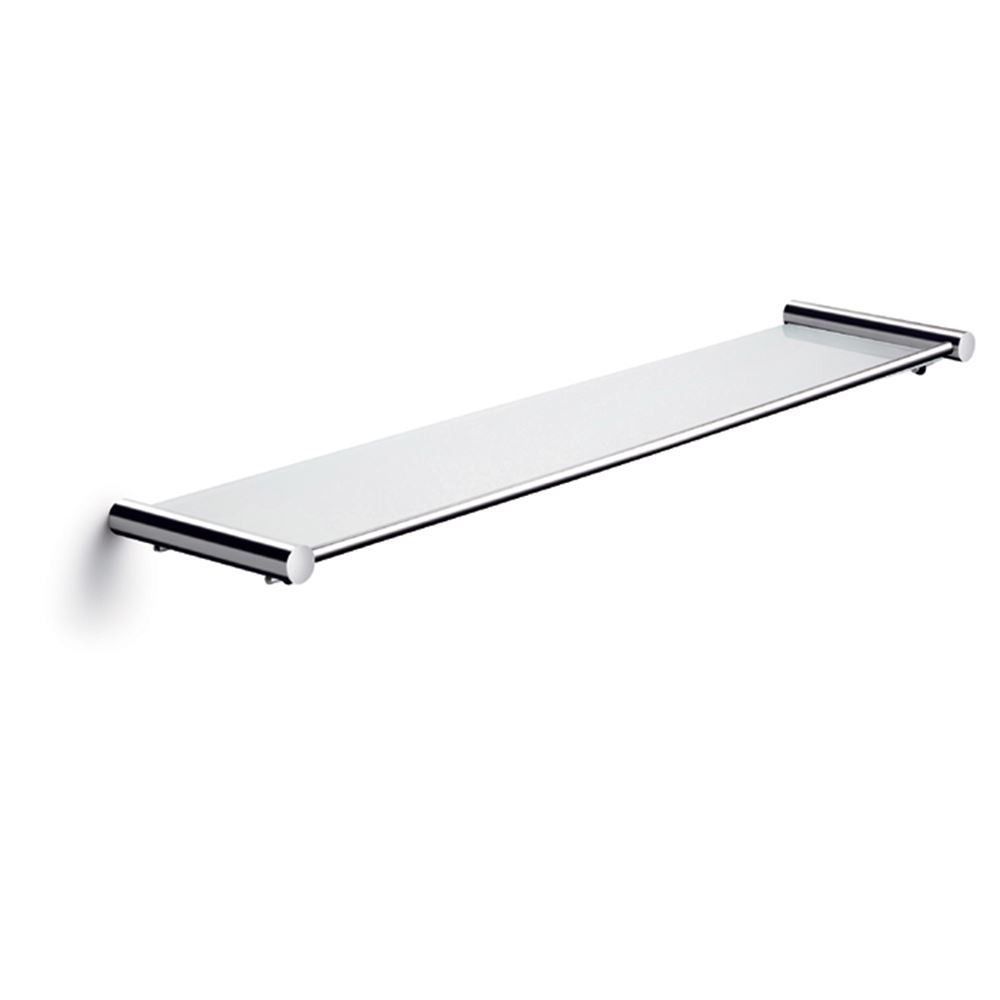 Shelf with glassplate 58,8 x 13,5 cm, polished stainless steel